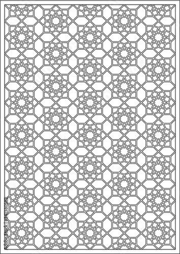 Fototapeta Vector coloring page. Geometrical pattern. Moroccan islamis mosaic girih obraz na płótnie