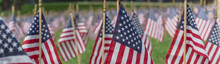 Panoramic Row Of Lawn American Flags Display On Green Grass On Memorial Day In Dallas, Texas, USA