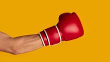 Closeup Of Sportsman Wearing Boxing Glove On Orange Background, Panorama