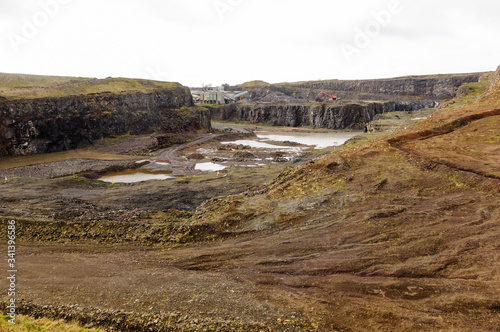 An open cast quarry, used for extracting rock, stones and other aggregates for t Canvas Print