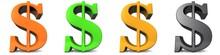 Dollar Symbol Sign 3d Orange G...