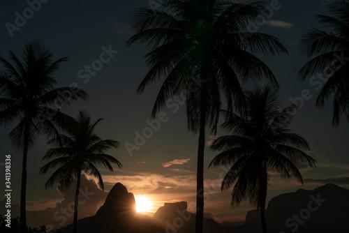 Stunning sunset over Dois Irmaos in Rio de Janeiro Brazil Canvas Print