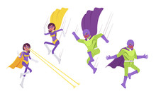 Male And Female Super Hero In Attacks Or Defense Pose. People With Superhuman Powers, Heroic Strong Brave Warriors With Great Extraordinary Abilities. Vector Flat Style Cartoon Illustration