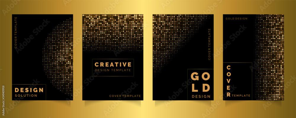 Fototapeta Gold dots cover template set