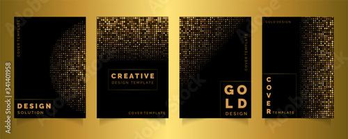 Fototapeta Gold dots cover template set obraz