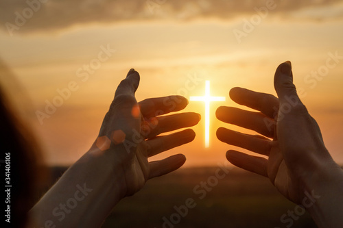 Concept of prayer and faith. Fototapeta