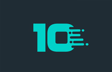 10 Ten Blue Number Logo Icon W...