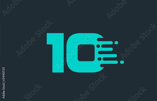 Fotografía 10 ten blue number logo icon with line design for company and business