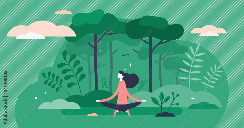 Fototapeta Forest bathing vector illustration. Nature therapy flat tiny person concept