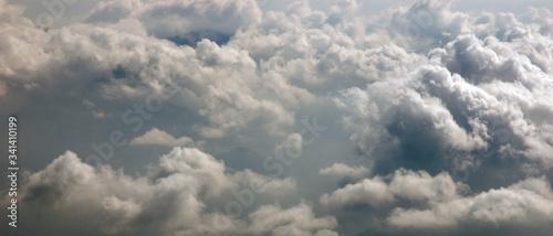 Bannière paysage mer de nuages de cumulus par vue aérienne Canvas Print