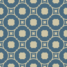 Golden Abstract Geometric Seamless Pattern. Simple Vector Gold And Soft Blue Background Texture. Elegant Graphic Ornament With Rounded Shapes, Squares, Circles, Octagons, Grid, Lattice. Repeat Design