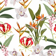 Fototapeta Optyczne powiększenie Tropical jungle plants, exotic green leaves and Gloriosa glory lily, strelitzia paradise flowers, orchid and other flowers on light background. Beach seamless pattern.