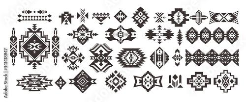Fototapeta Set of Tribal decorative elements isolated on white background