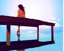 A Woman Sitting On A Pier's Edge In A Misty Morning And Wacthing Beautifull Sea Landscape. Isolation.