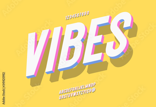 Fotografia, Obraz Vector vibes font 3d bold style modern typography cute color for summer party po