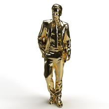 Gold Plated Man In Suit Busine...