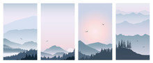 Set Vector Illustration Of A Beautiful Mountain Landscape At Different Times Of The Day, Flat Design.