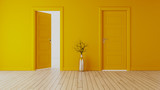yellow wall with yellow opened door and closed door realistic 3D rendering