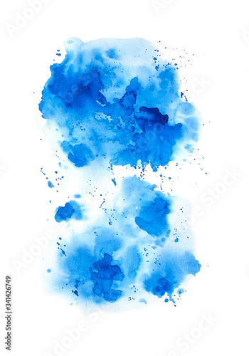 Valokuvatapetti Abstract watercolor blue background. Raster illustration