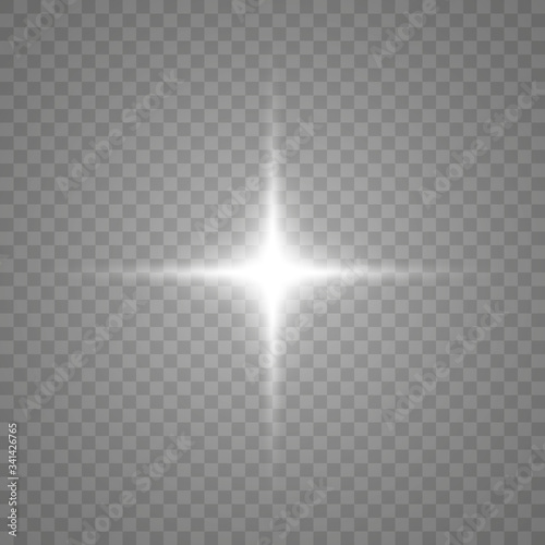 White glowing light burst explosion with transparent Fototapeta