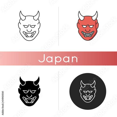 Japanese mask icon Wallpaper Mural