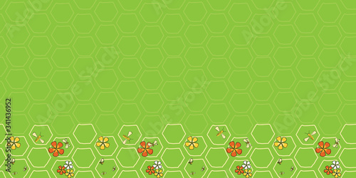 Tablou Canvas Buzz on Spring Border seamless vector repeat bees and flowers on honeycomb surfa
