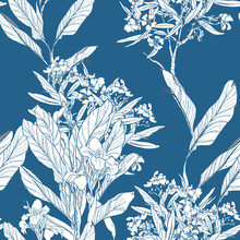 Beautiful Chinese Blue And White Porcelane Exotic Trees With Flowers On Blue Background, Chinoiserie Floral Trees White On Cobalt Background Hand Drawn Print