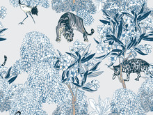 Blue And White Wild Animals Pr...
