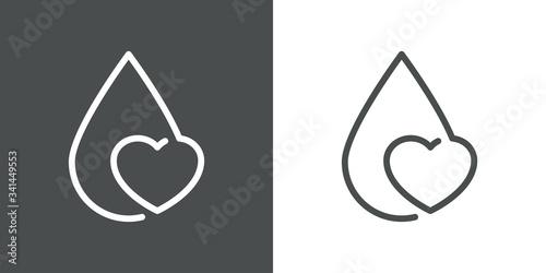 Icono plano lineal gota con corazón en fondo gris y fondo blanco Canvas Print