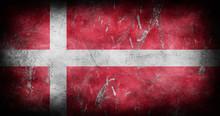 Denmark Flag With Grunge Textu...