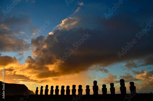 Sunset over the Moai statues in Ahu Tongariki Canvas Print