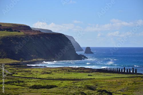 Ahu Tongariki on Easter Island. Biggest Moais n Easter Island. Canvas Print