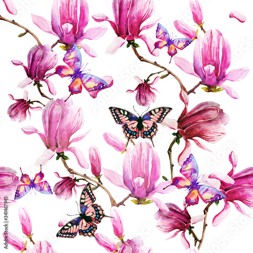 magnolia branch, pattern,beautiful pink  flowers, flowers isolated on a white background, vintage