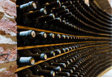 Red Wine Bottles Stored In A W...