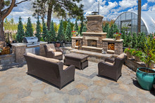 Beautiful Outdoor Living Space With Fire Place And BBQ Grill/ Outdoor Kitchen