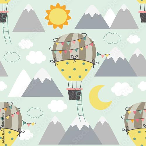 wzór z balonem latające nad górami - ilustracja wektorowa eps