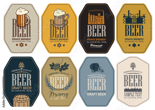 Fototapeta Set of vector labels for beer and brewery in figured frames in retro style. Labels with overflowing glasses of frothy beer, hop cones, ears wheat, image of brewery production and brewing equipment obraz
