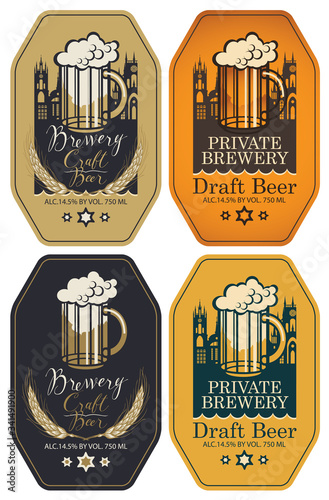 Fototapeta Set of vector labels for craft and draft beer and brewery in figured frames in retro style. Labels with overflowing glass of frothy beer, wheat ears, inscriptions and silhouettes of the old towns obraz