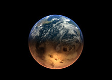 Digital Composite Image Of Planet Earth And Moon Against Black Background