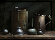 Old Oil Cans As Still Life
