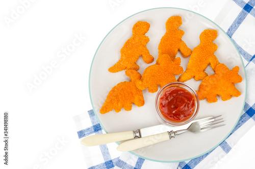 Fototapeta Dishes of baby food, fast food, nuggets. Studio Photo obraz