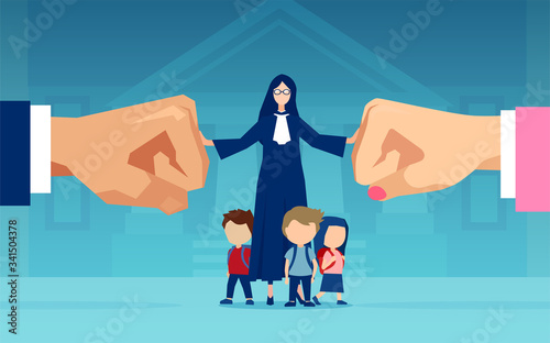 Fotografía Vector of children and a judge caught between divorcing parents who are fighting