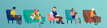 Vector Of A Group Of People Reading Books Sitting On Chair Or Sofa