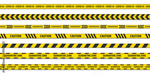 Fotografia Set of danger or warning caution seamless tapes
