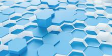 Full Frame Shot Of Blue Hexago...
