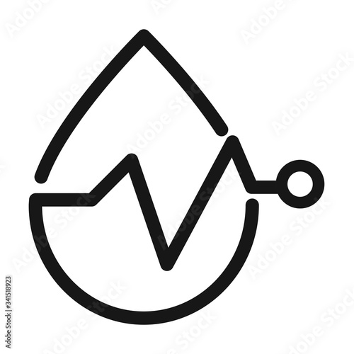 blood drop heart rate medical and health care line style icon Fototapet