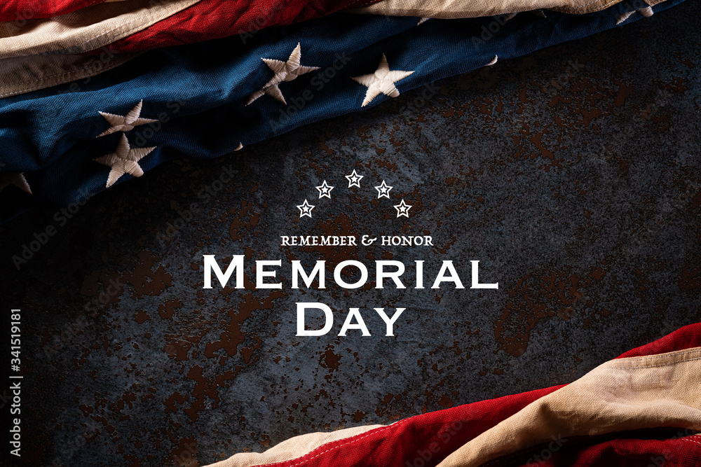 Fototapeta Happy Memorial Day. American flags with the text REMEMBER & HONOR against a black stone texture background. May 25.