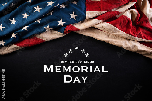 Obraz Happy Memorial Day. American flags with the text REMEMBER & HONOR against a blackboard background. May 25. - fototapety do salonu