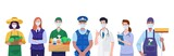 Essential workers, Various occupations people wearing face masks. Vector - 341533369