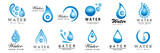 Fototapeta Łazienka - Water Splash Vector And Drop Set - Isolated On White. Abstract Vector Collection Of Flat Water Splash and Drop Logo. Icons For Droplet, Water Wave, Rain, Raindrop, Company Logo And Bubble Design